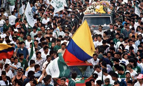 The funeral of Andrés Escobar in Medellín