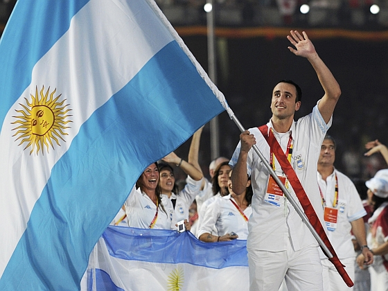 Argentina's Olympic team follow their national flag-bearer Emanuel Ginobili during the opening ceremony of the Beijing 2008 Olympic Games at the National Stadium