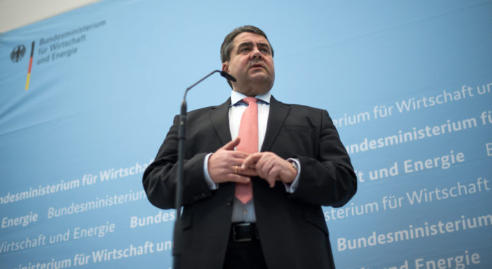 German economy Minister Gabriel speaks about electromobility