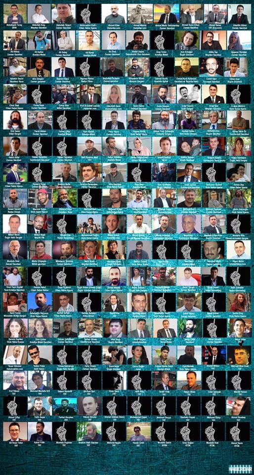 I volti dei 170 giornalisti incarcerati in Turchia.