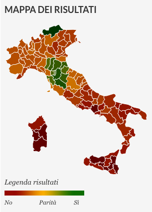 mappa dei risultati referendum