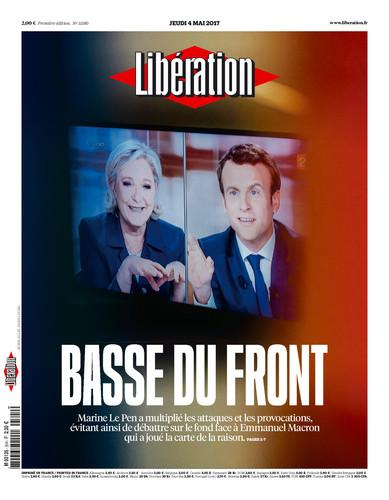 Prima pagina Liberation dopo dibattito