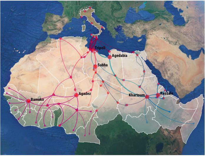 mappa tratta esseri umani migranti