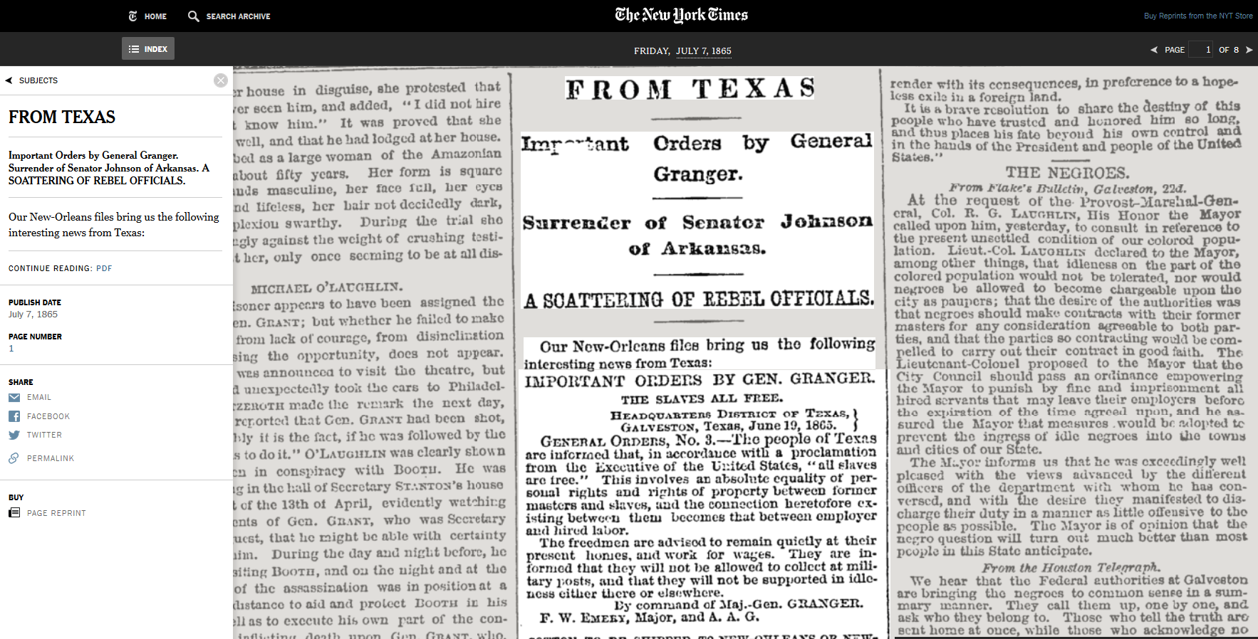 The New York TImes Archive General Granger Order 3 the slaves all free