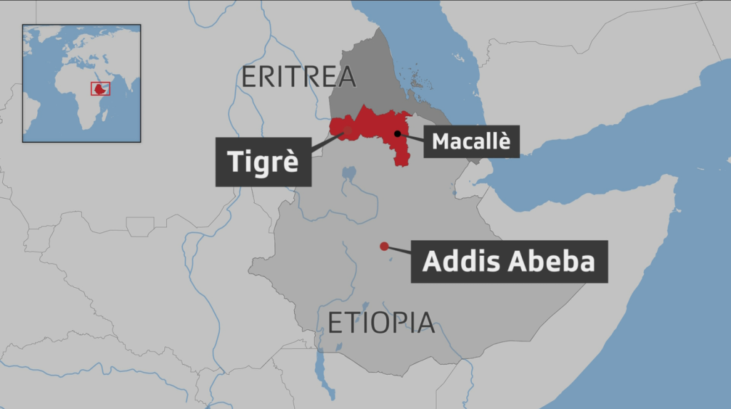 Mappa Etiopia, regione Tigrai.